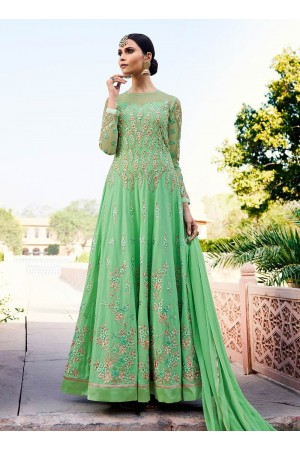 Green georgette party anarkali suit 11009
