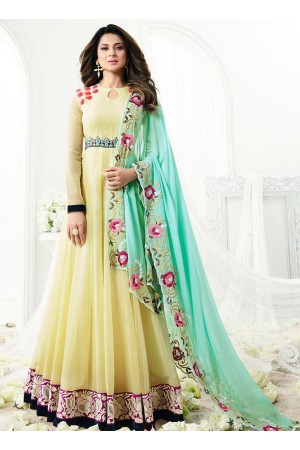 Jennifer Winget cream georgette anarkali suit 1109