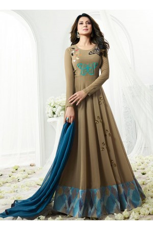 Jennifer Winget grey georgette anarkali suit 1110