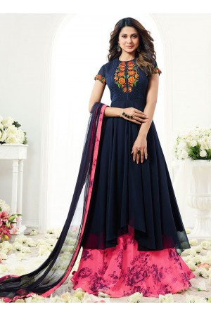 Jennifer Winget navy blue georgette anarkali 1115