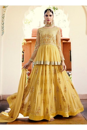 Light yellow georgette party wear anarkali 11002