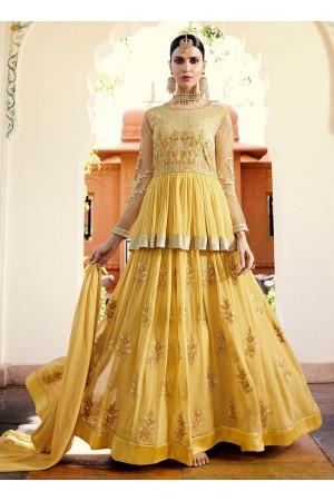 Light yellow georgette party wear anarkali 11002