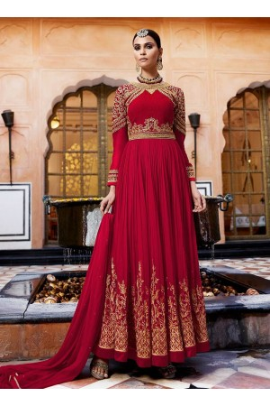 Maroon georgette party wear anarkali 11001