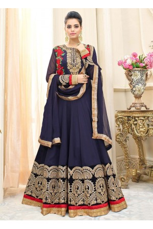 Navy blue georgette party wear anarkali 9114