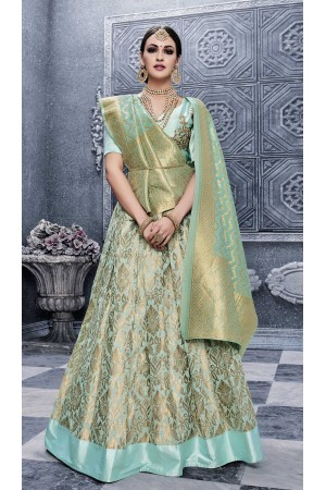Party Wear Pure banarsi silk Green Lehenga 25003