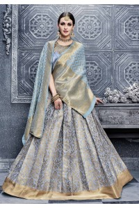 Party Wear Pure banarsi silk Grey Lehenga 25006