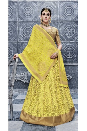 Party Wear Pure banarsi silk Yellow Lehenga 25004
