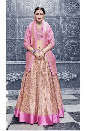 Party Wear Pure banarsi silk baby pink Lehenga 25001