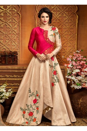 Peach silk wedding anarkali 2487