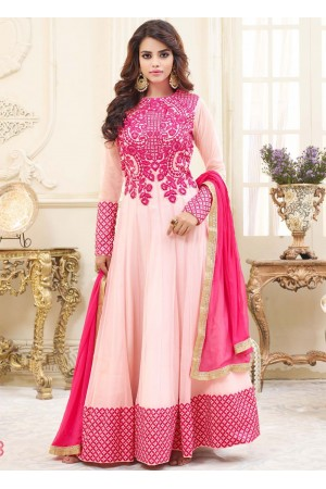 Pink georgette party wear anarkali 9112