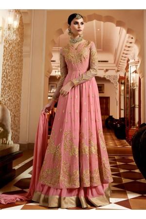 Pink georgette wedding ghagra lehenga kameez 11007