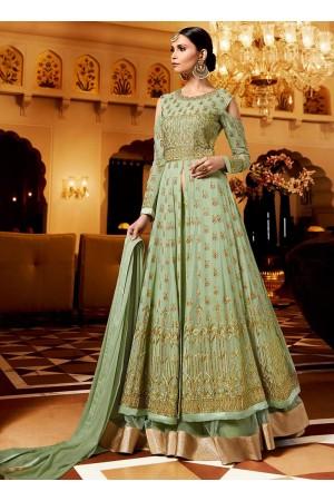 Pista green georgette party wear ghagra lehenga kameez 11005