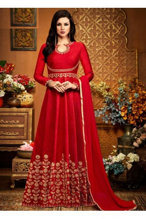 Red australian party wear anarkali 2490