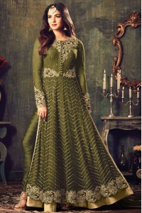 Sonal chauhan green color net party wear anarkali suit 4707D
