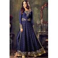 Sonal chauhan blue color net party wear anarkali suit 4707