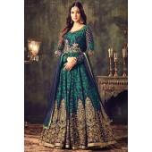 Sonal chauhan blue green georgette party wear anarkali suit 4705
