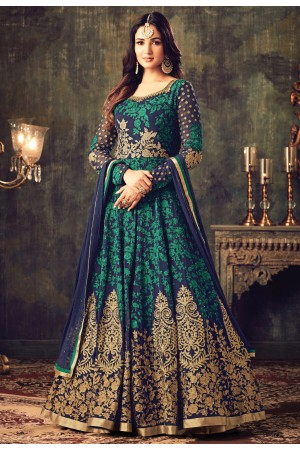 Sonal chauhan blue green georgette party wear anarkali suit 4705