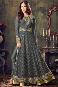 Sonal chauhan Grey color net party wear anarkali suit 4707