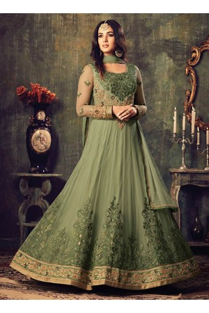 Sonal chauhan olive green net party wear pant suit 4703
