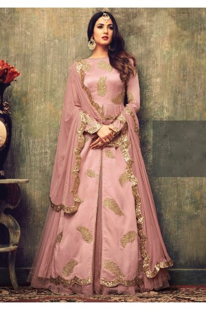 Sonal chauhan pink net rangoli party wear pant suit 4701
