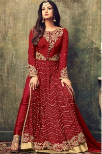 Sonal chauhan red color net party wear anarkali suit 4707