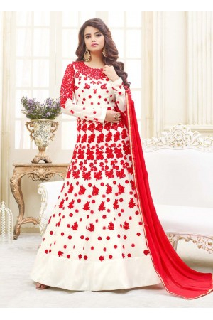 White georgette party wear anarkali 9115