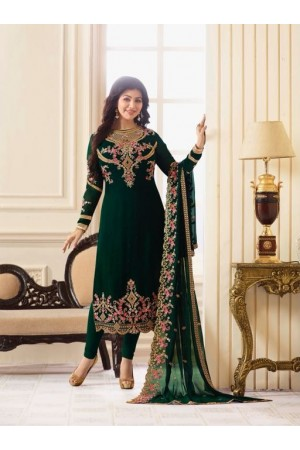 Ayesha Takia Green Georgette straight cut Indian Wedding salwar kameez 18013