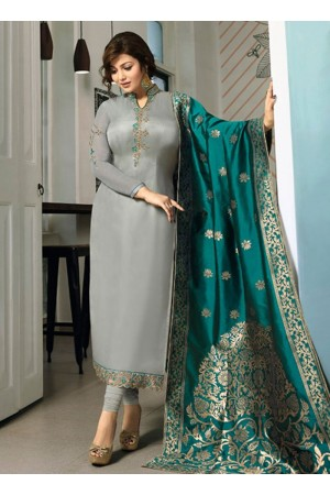 Ayesha Takia Grey color satin georgette straight cut Indian wedding salwar kameez 22122