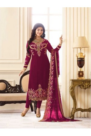 Ayesha Takia Magenta Georgette straight cut Indian Wedding salwar kameez 18013C