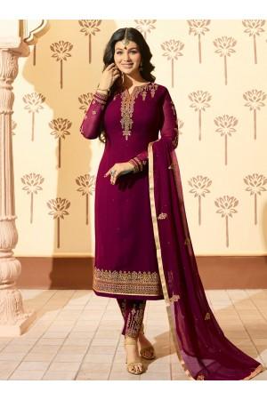 Ayesha Takia Purple georgette straight cut Indian wedding pant style suit 225