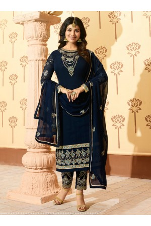 Ayesha Takia Purple georgette straight cut Indian wedding pant style suit 226