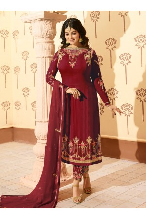 Ayesha Takia Purple georgette straight cut Indian wedding pant style suit 227