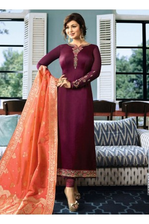 Ayesha Takia Wine color satin georgette straight cut Indian wedding salwar kameez 22121