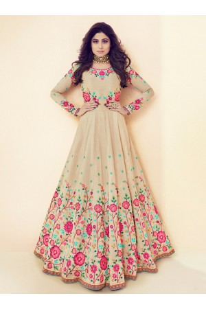 Shamita Shetty Beige Color Indian Wedding anarkali 8011