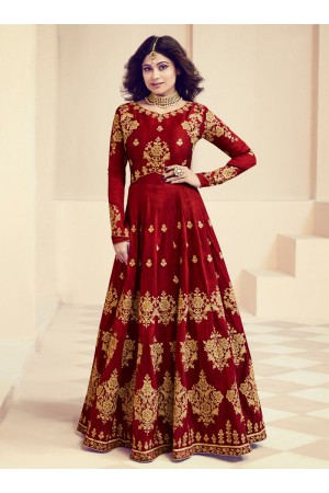 Shamita Shetty Maroon Color Indian Wedding anarkali 8012