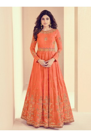 Shamita Shetty Peach Color Indian Wedding anarkali 8013