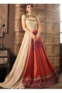 Beige and maroon silk digital wedding lehenga choli