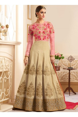 Beige and pink mulberry silk wedding anarkali
