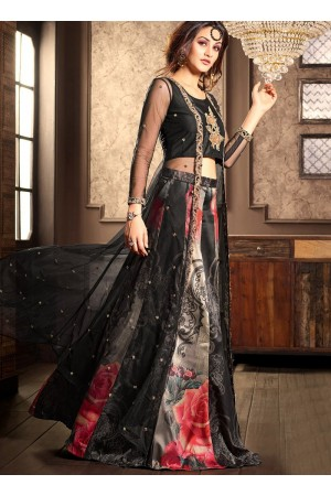 Black silk and net wedding lehenga choli