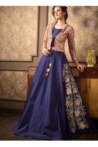 Blue spanish silk wedding lehenga choli