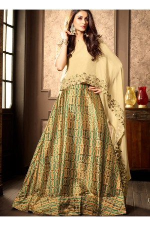 Beige silk digital wedding lehenga choli