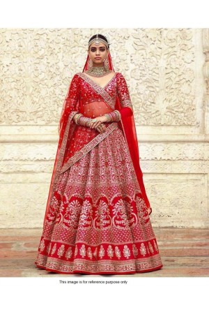 Sabyasachi Inspired Red bridal silk lehenga choli