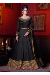 Black color phantom silk wedding anarkali