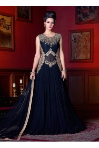 Black color georgette wedding anarkali