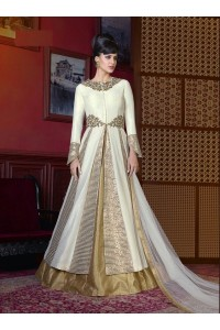 Cream color cherry silk wedding anarkali kameez