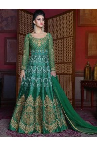 Green color silk wedding anarkali