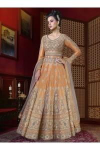 Light orange color mercury silk wedding anarkali
