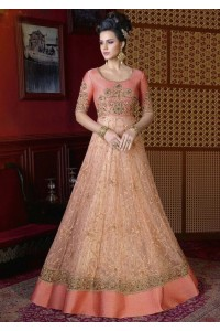 Peach color net wedding anarkali