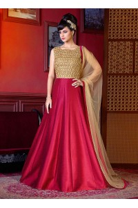 Pink color dior silk wedding anarkali