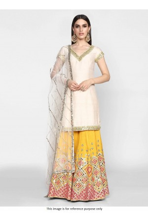 Bollywood model white and yellow silk palazzo set